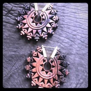 Wood and brass hand carved earrings